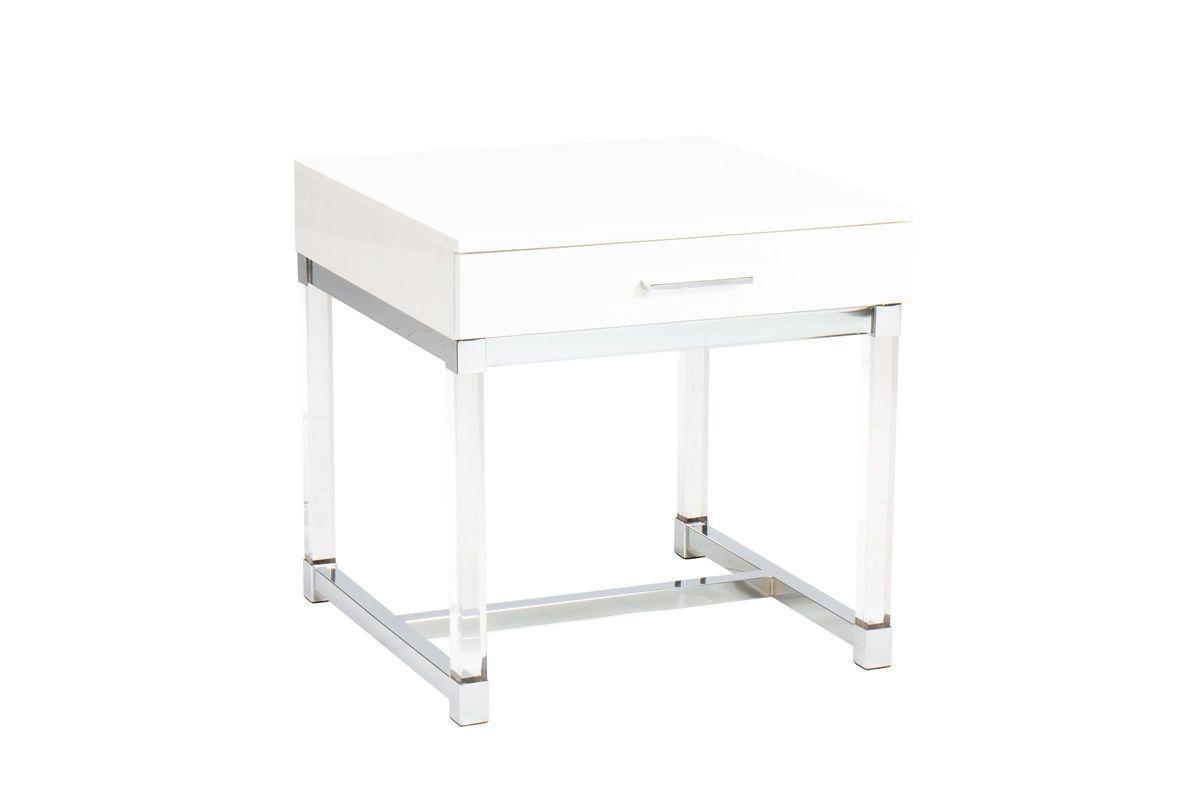 Groovy Everett White And Acrylic End Table Spiritservingveterans Wood Chair Design Ideas Spiritservingveteransorg