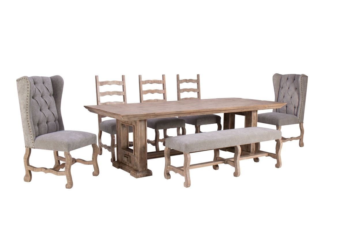 Wondrous Wimberly 85 Dining Table 3 Side Chairs 2 Upholstered Chairs Bench Interior Design Ideas Gentotryabchikinfo