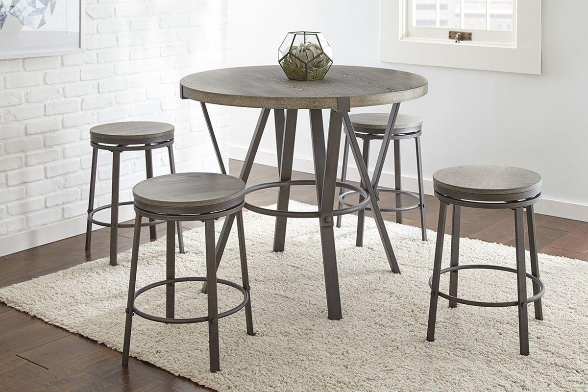 Portland Counterheight Table + 4 Swivel Stools from Gardner-White Furniture