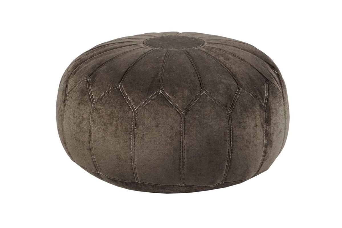 Pleasing Kelsey Round Pouf Ottoman In Brown By Madison Park Spiritservingveterans Wood Chair Design Ideas Spiritservingveteransorg