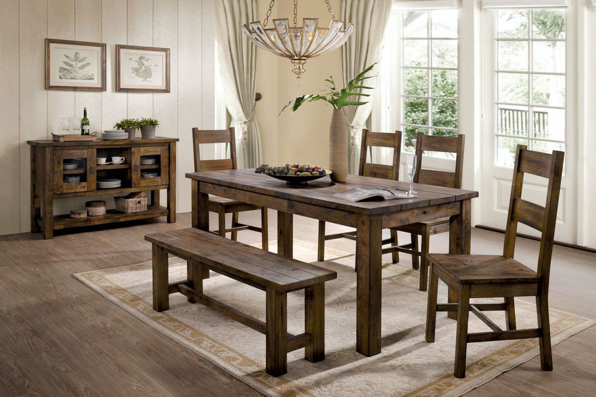 Glenview Dining Table + 4 Side Chairs + Bench from Gardner-White Furniture