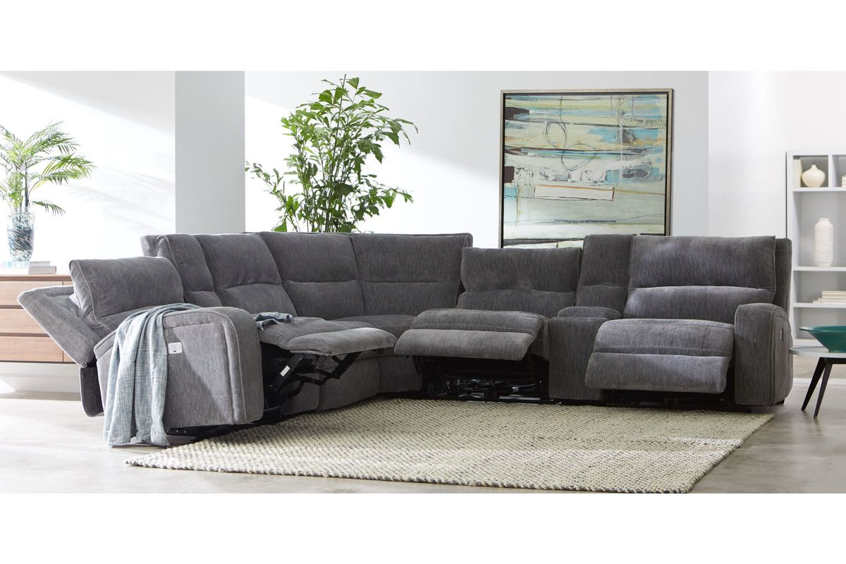 Bentley 7-Piece Chenille Sectional with 4 Power Reclining Seats from Gardner-White Furniture