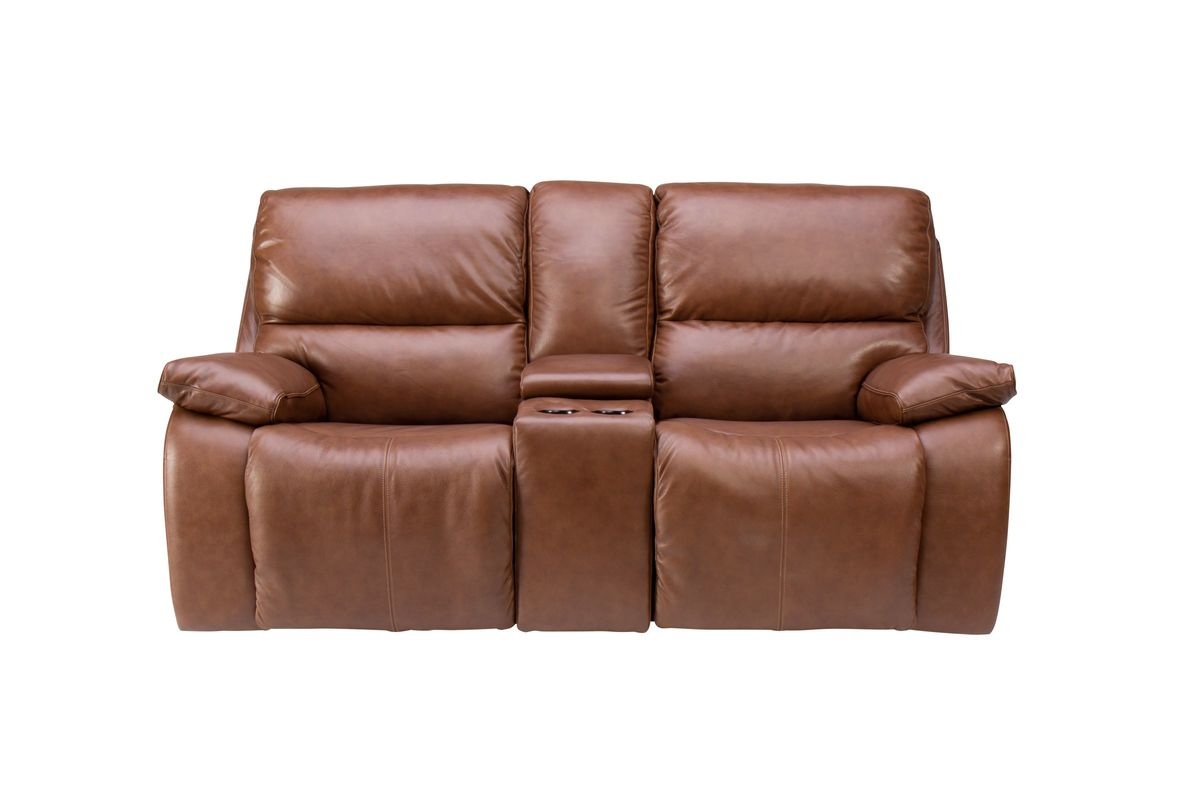 Superb Mustang Triple Power Leather Reclining Loveseat With Console Machost Co Dining Chair Design Ideas Machostcouk