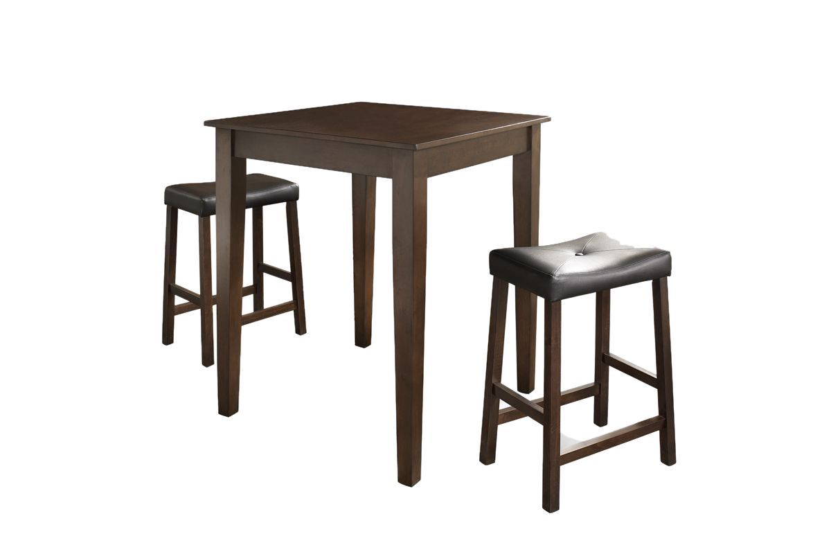 3 Piece Pub Dining Set with Upholstered Saddle Stools in Vintage Mahogany by Crosley from Gardner-White Furniture