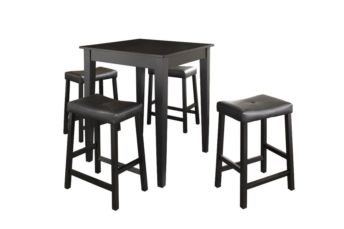 5 Piece Pub Dining Set with Upholstered Saddle Stools in Black by Crosley from Gardner-White Furniture