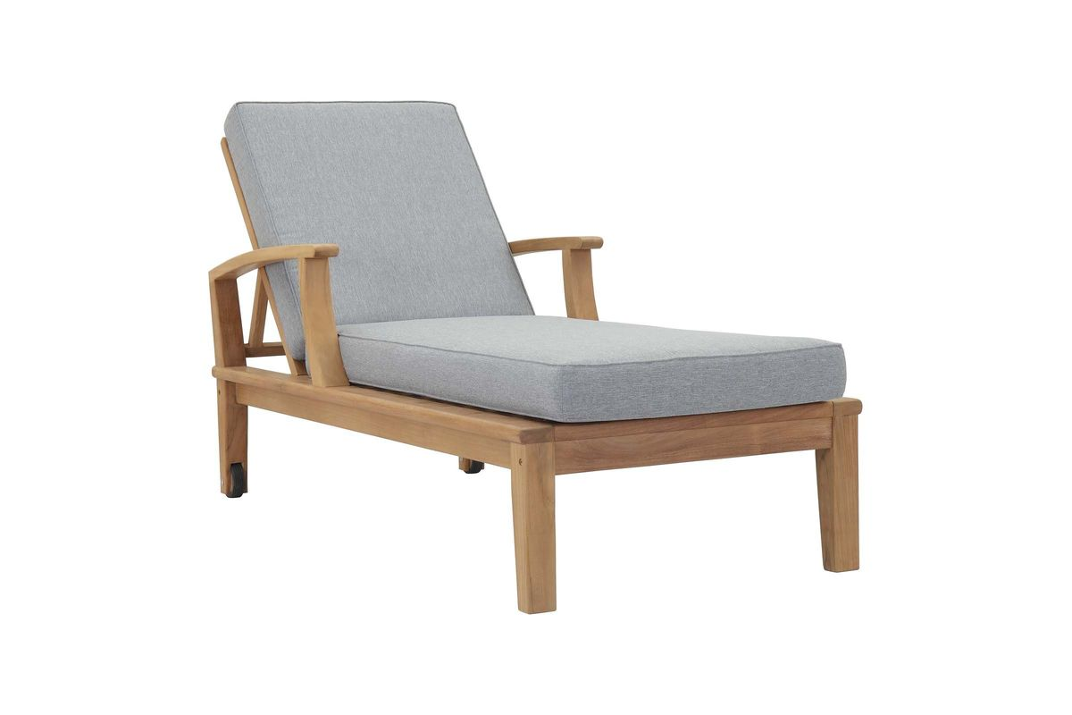 Marina Outdoor Patio Premium Grade A Teak Wood Single Chaise by Modway from Gardner-White Furniture