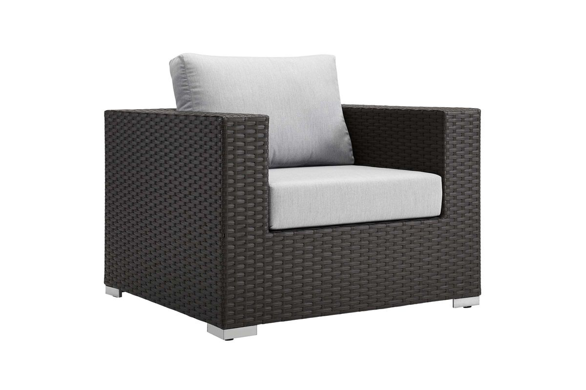 Sojourn Outdoor Patio Wicker Rattan Sunbrella Armchair In Grey By Modway