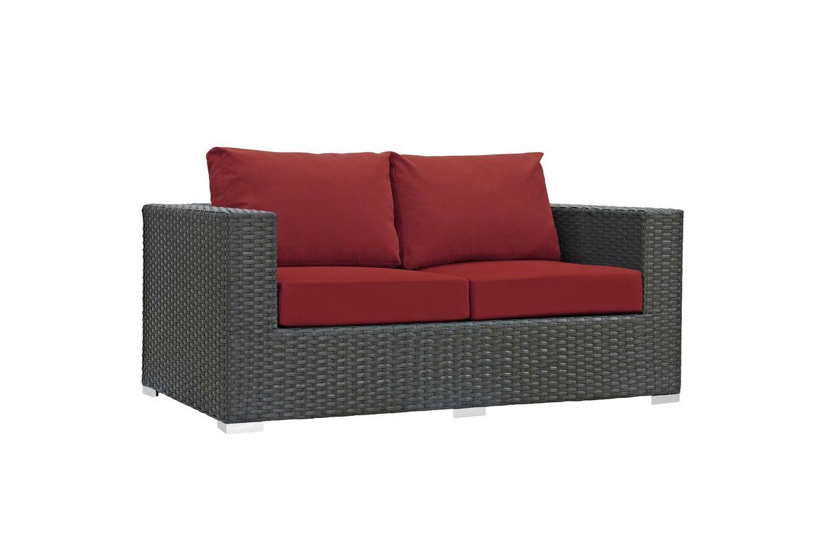 Sojourn Outdoor Patio Wicker Rattan Sunbrella¨ Loveseat from Gardner-White Furniture