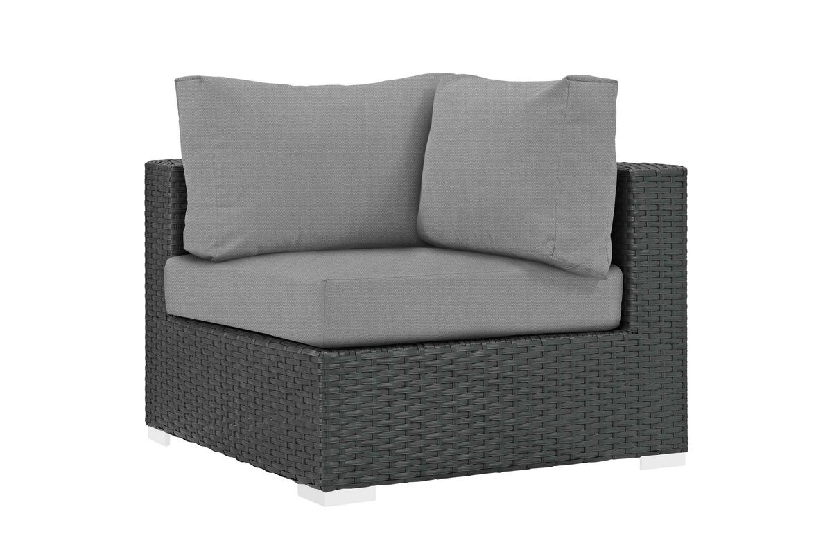 Sojourn Corner Outdoor Patio Wicker Rattan Sunbrella Sectional Set in Grey by Modway from Gardner-White Furniture