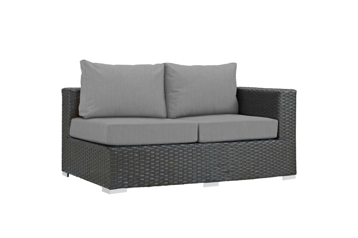 Sojourn Outdoor Patio Wicker Rattan Sunbrella Right Arm Loveseat in Grey by Modway from Gardner-White Furniture
