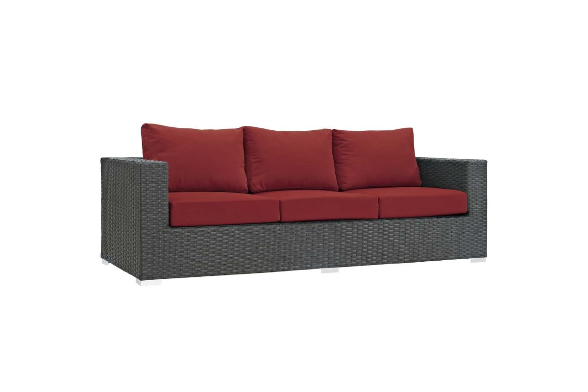 Sojourn Outdoor Patio Wicker Rattan Sunbrella Sofa in Red by Modway from Gardner-White Furniture