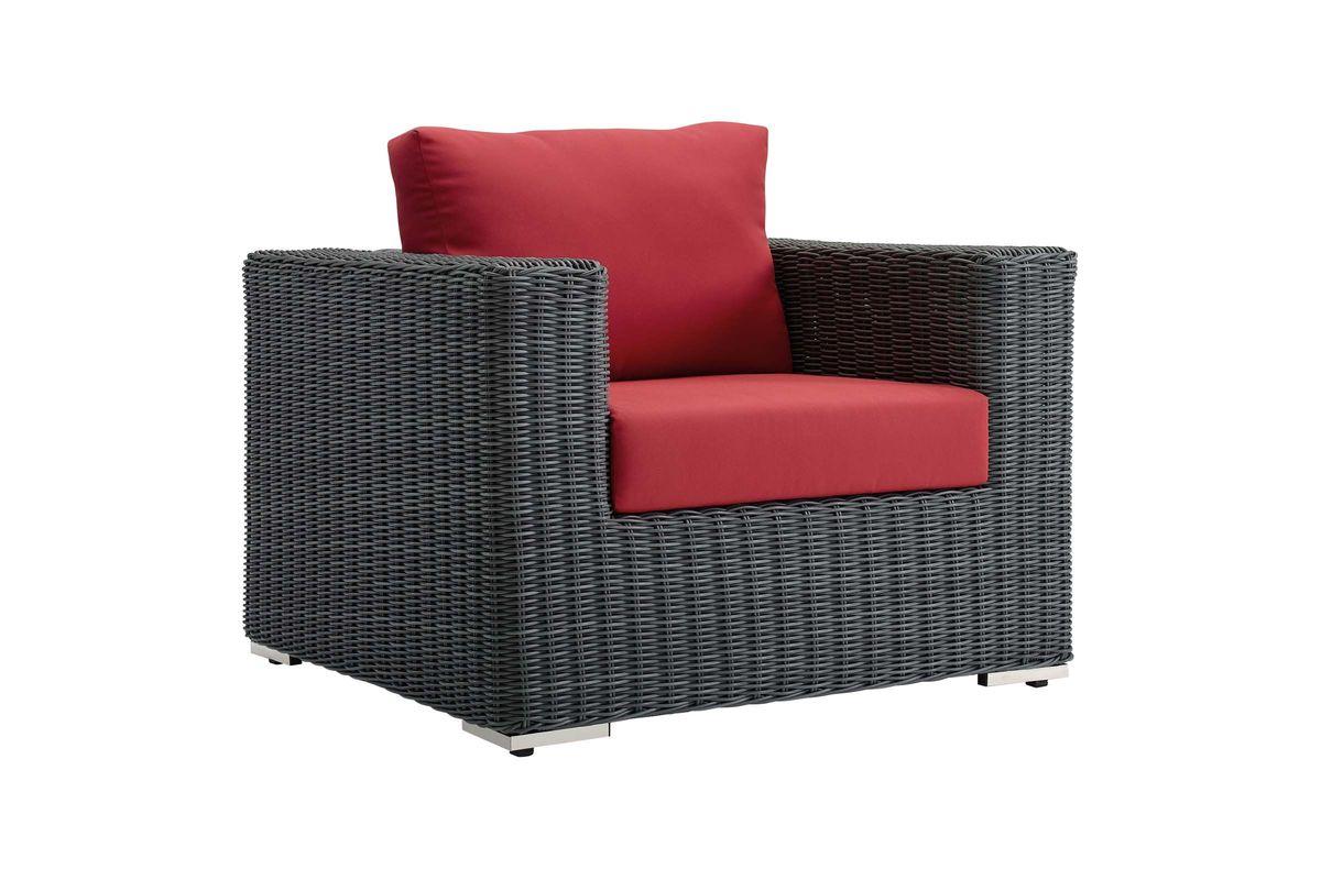 Summon Outdoor Patio Wicker Rattan Sunbrella¨ Armchair from Gardner-White Furniture