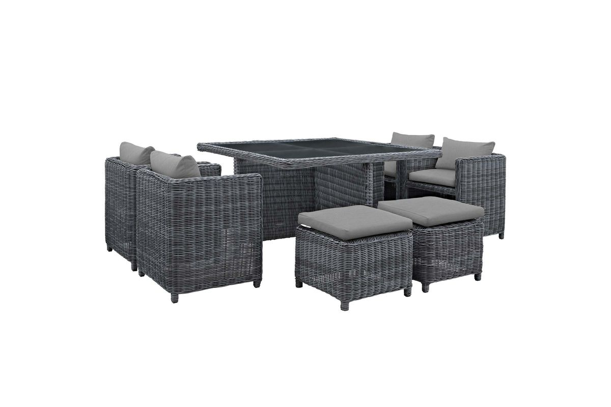 Summon 9 Piece Outdoor Patio Wicker Rattan Sunbrella Dining Set in Grey by Modway from Gardner-White Furniture
