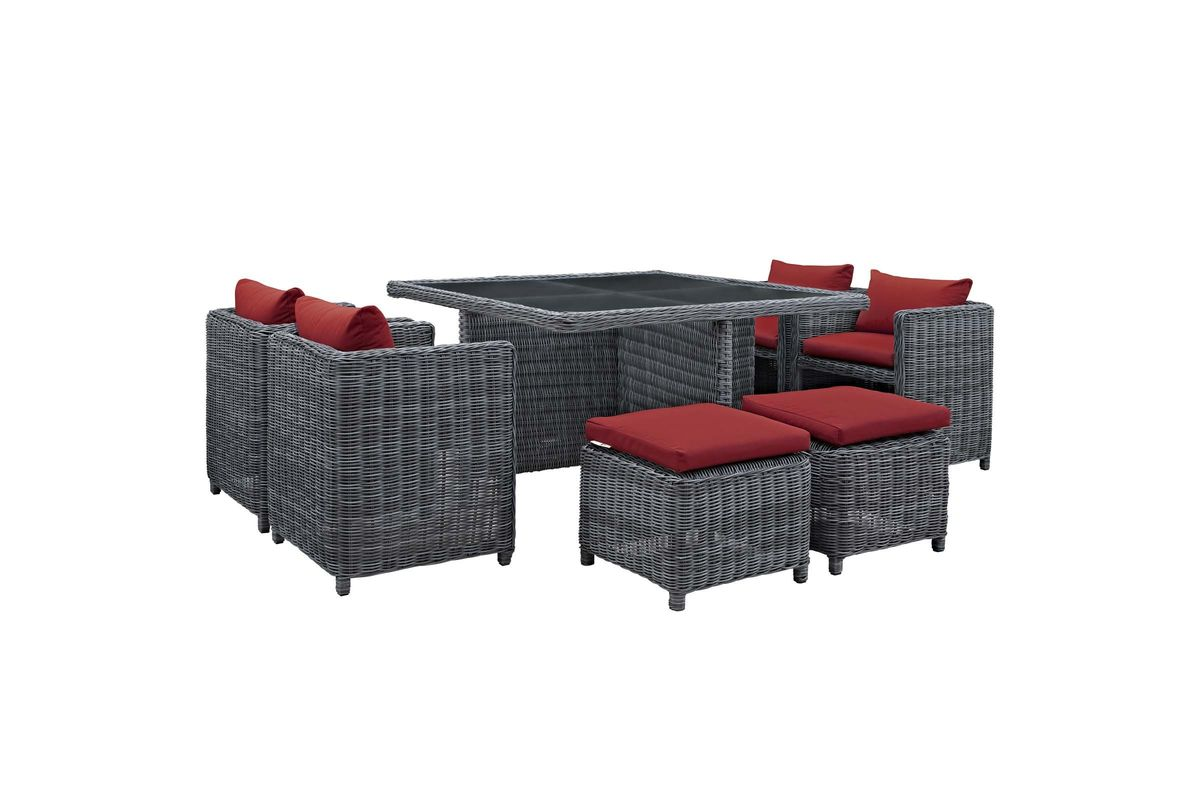 Summon 9 Piece Outdoor Patio Wicker Rattan Sunbrella Dining Set in Red by Modway from Gardner-White Furniture
