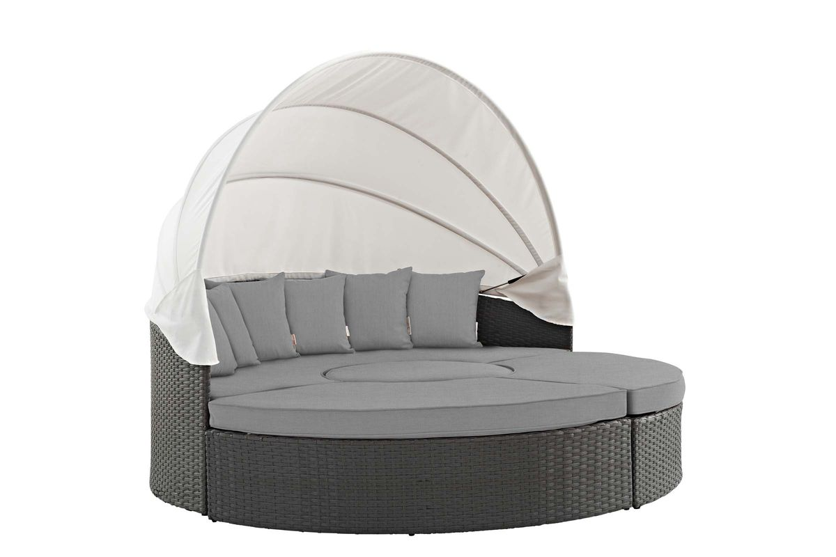 Sojourn Outdoor Patio Wicker Rattan Sunbrella Daybed in Grey by Modway from Gardner-White Furniture