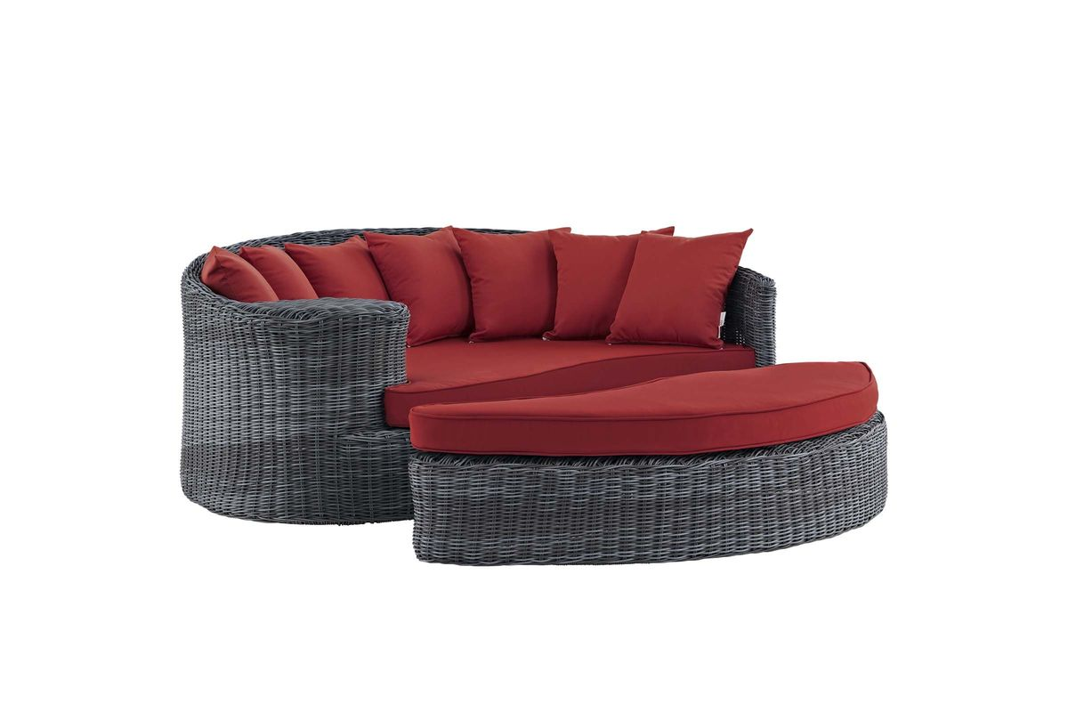 Summon Outdoor Patio Wicker Rattan Sunbrella Daybed in Red by Modway from Gardner-White Furniture