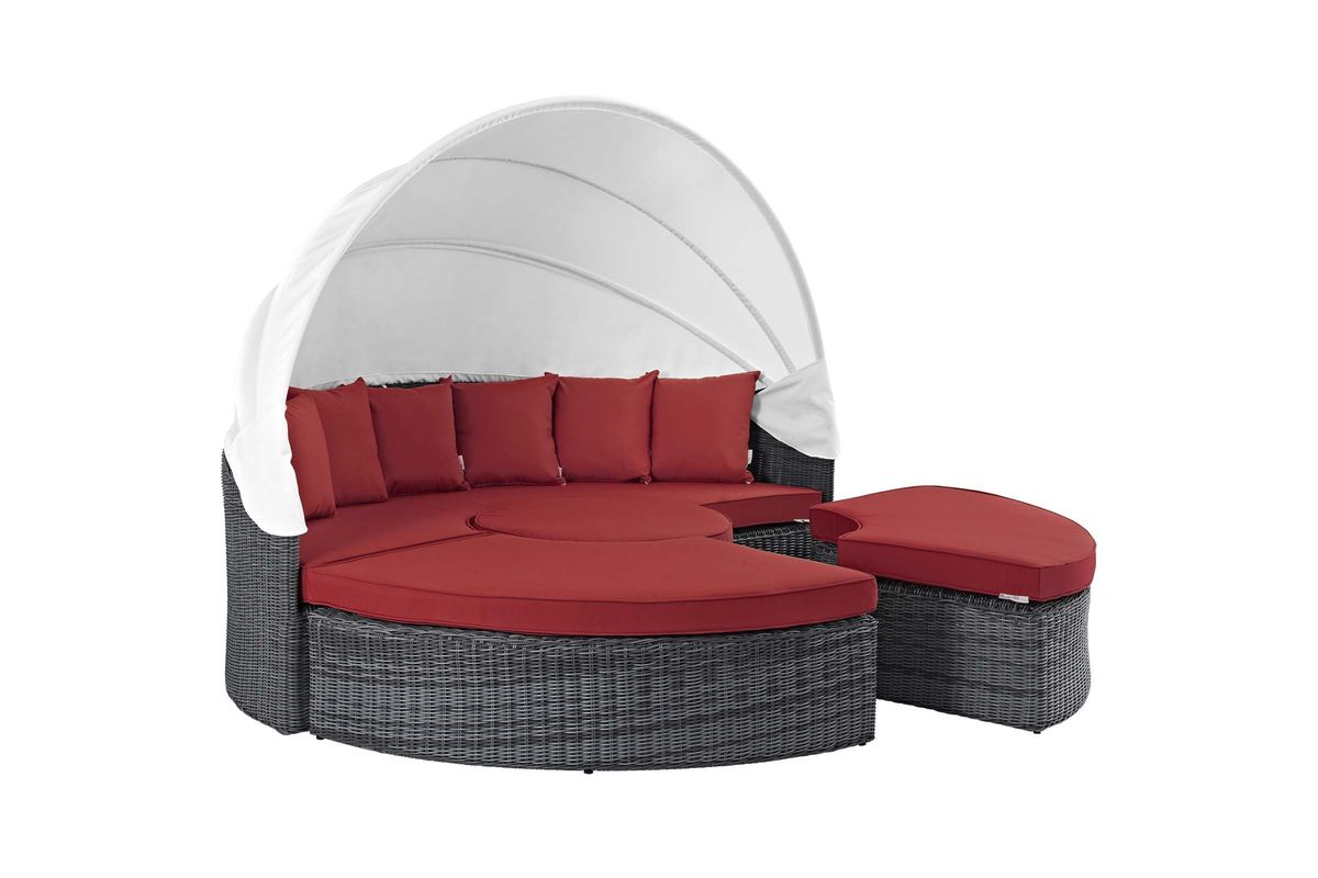 Summon Canopy Outdoor Patio Wicker Rattan Sunbrella Daybed in Red by Modway