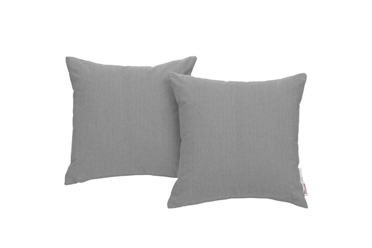 Summon 2 Piece Outdoor Patio Wicker Rattan Sunbrella Pillow Set In Grey By Modway From Gardner