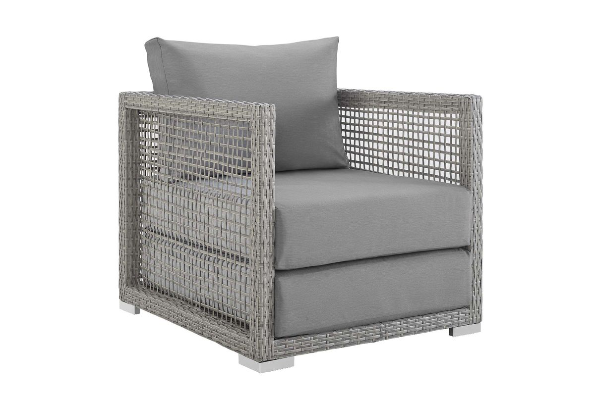 Aura Rattan Outdoor Patio Armchair in Grey by Modway at ...