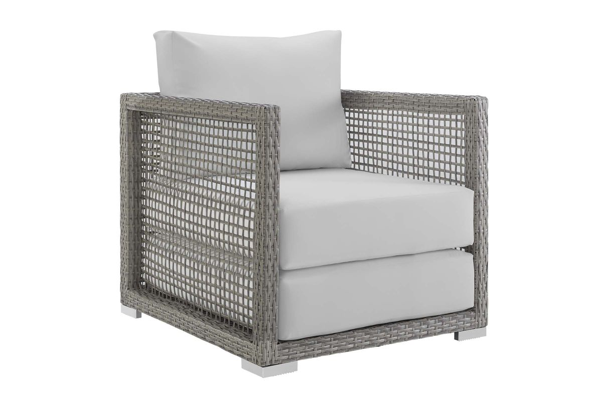 Aura Rattan Outdoor Patio Armchair in White by Modway from Gardner-White Furniture