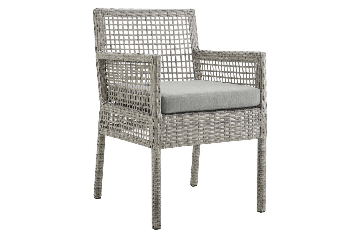 Aura Outdoor Patio Wicker Rattan Dining Armchair in Grey by Modway from Gardner-White Furniture
