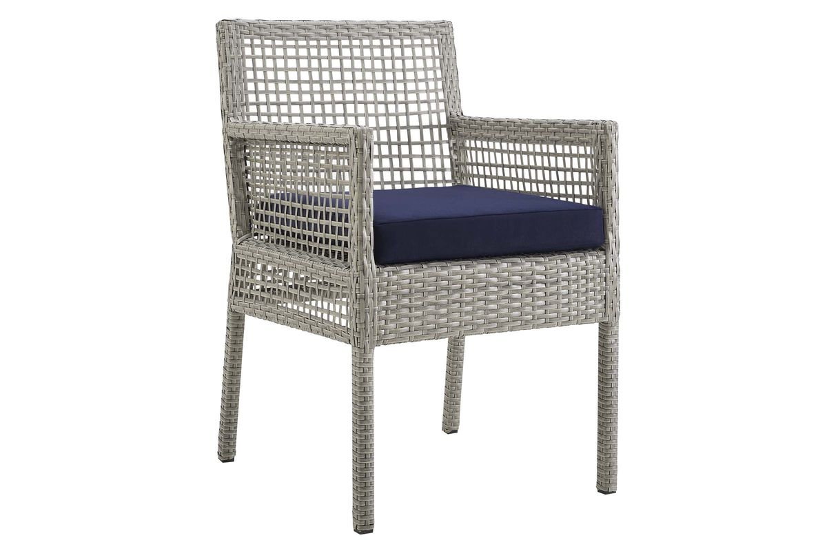 Aura Outdoor Patio Wicker Rattan Dining Armchair in Navy by Modway from Gardner-White Furniture