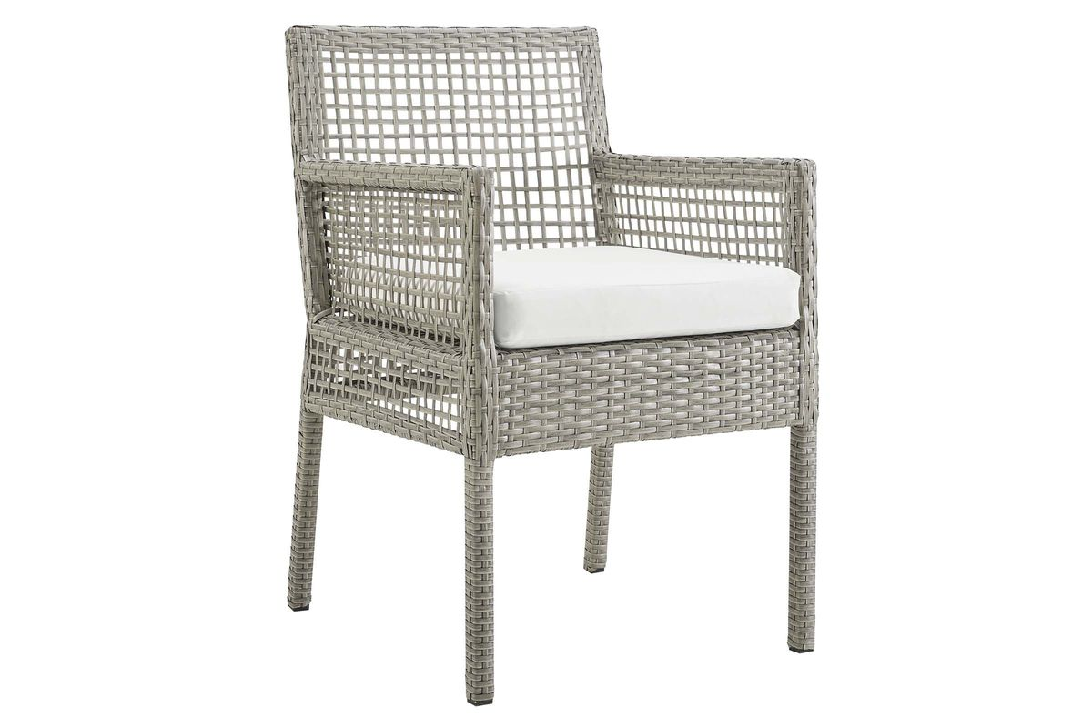 Aura Outdoor Patio Wicker Rattan Dining Armchair in White by Modway from Gardner-White Furniture