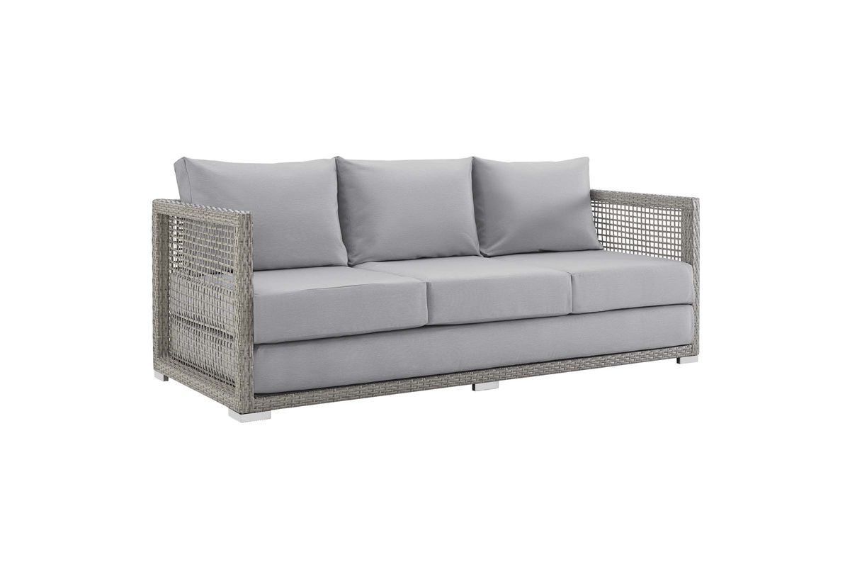 Aura Outdoor Patio Wicker Rattan Sofa in Grey by Modway from Gardner-White Furniture