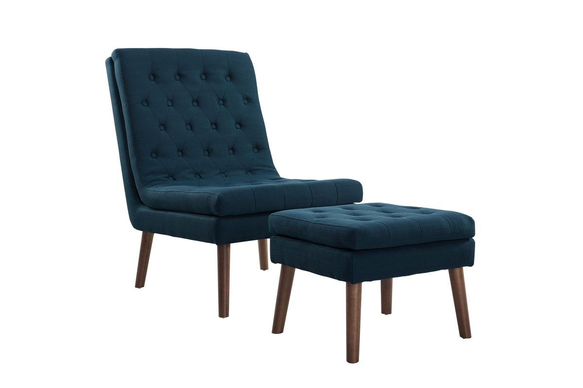 Brilliant Modify Upholstered Lounge Chair And Ottoman In Blue By Modway Machost Co Dining Chair Design Ideas Machostcouk