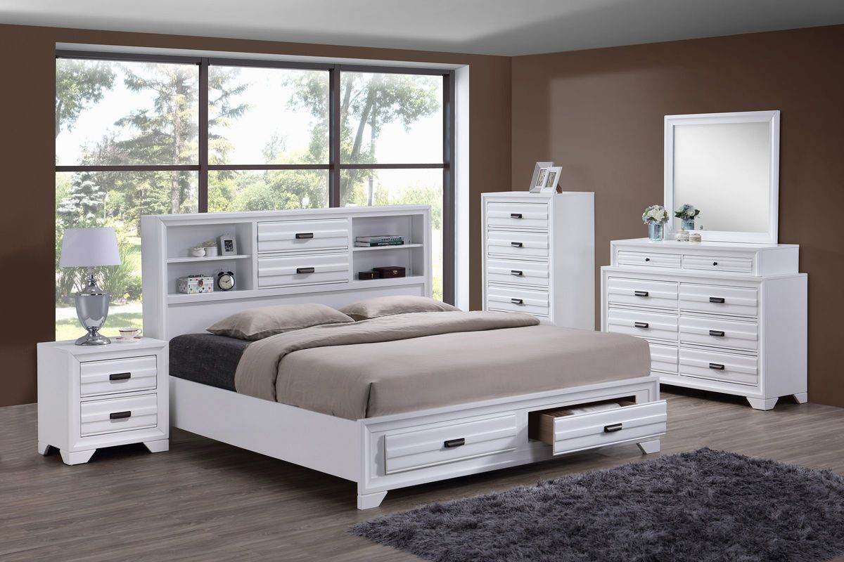 White bedroom set with bookcase headboard and underbed storage in footboard