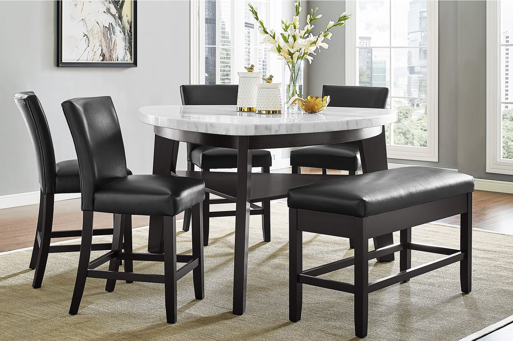 Carrara Marble Counter-Height Table + 4 Counter Chairs