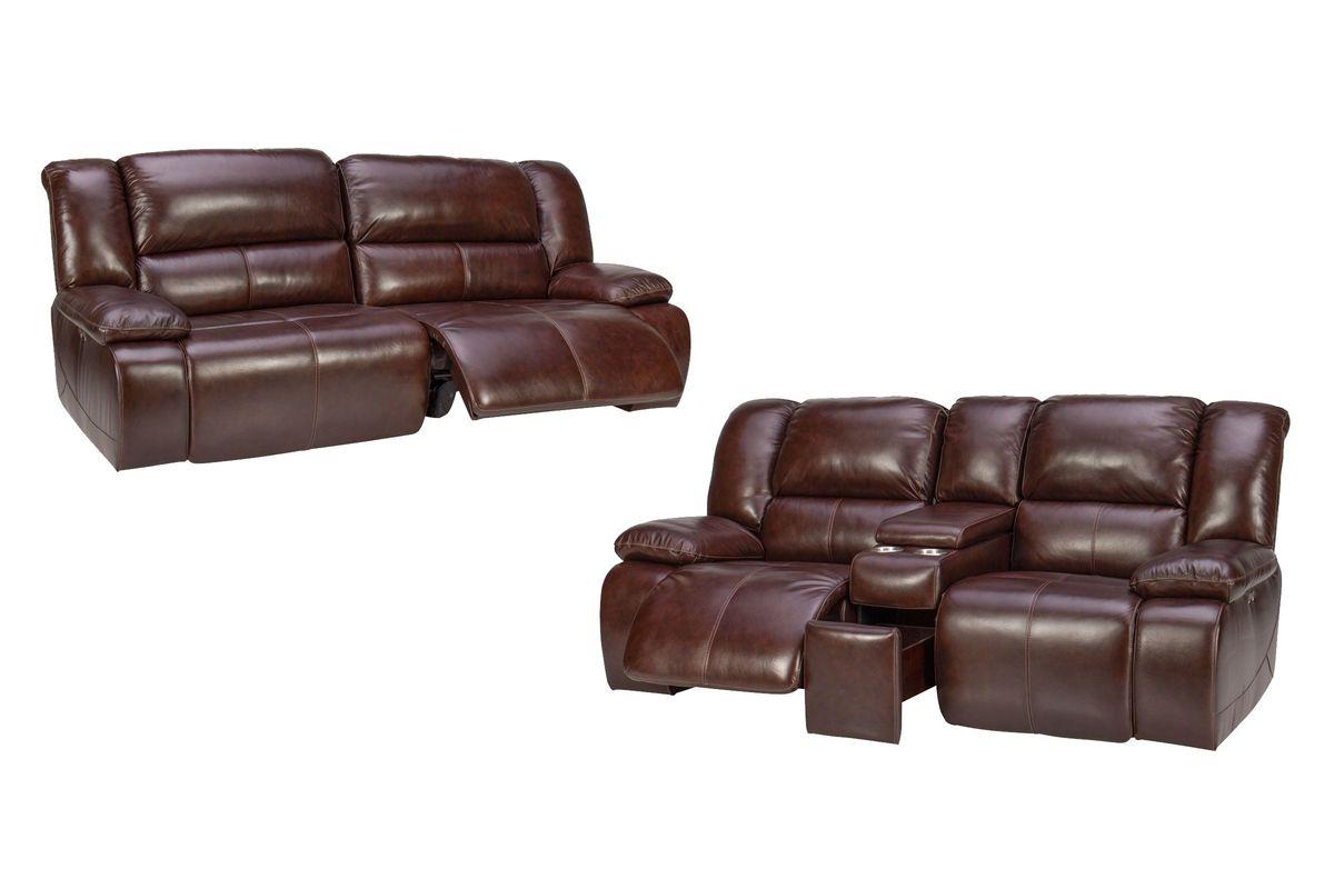 Amarillo Power Reclining Leather Sofa + Loveseat from Gardner-White Furniture