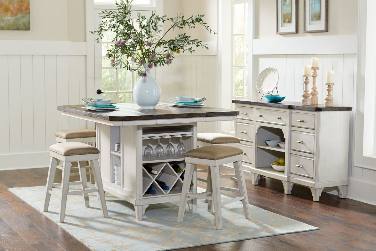 Mystic Island Table + 4 Stools from Gardner-White Furniture