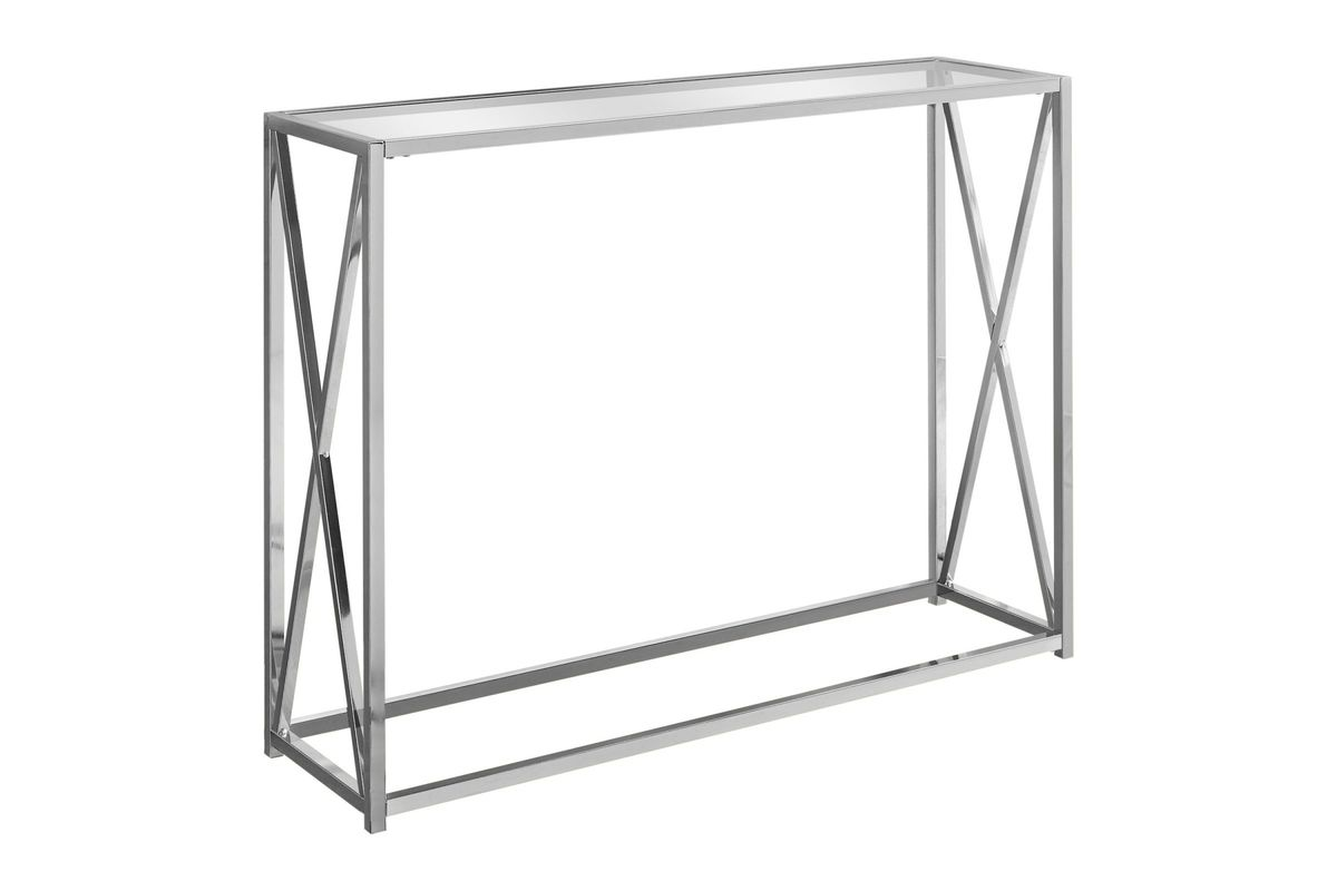 Chrome Metal Accent Table with Tempered Glass by Monarch from Gardner-White Furniture