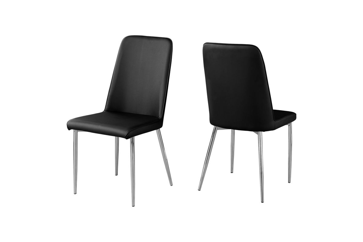 Black Faux Leather Dining Chair - Set of 2  by Monarch from Gardner-White Furniture