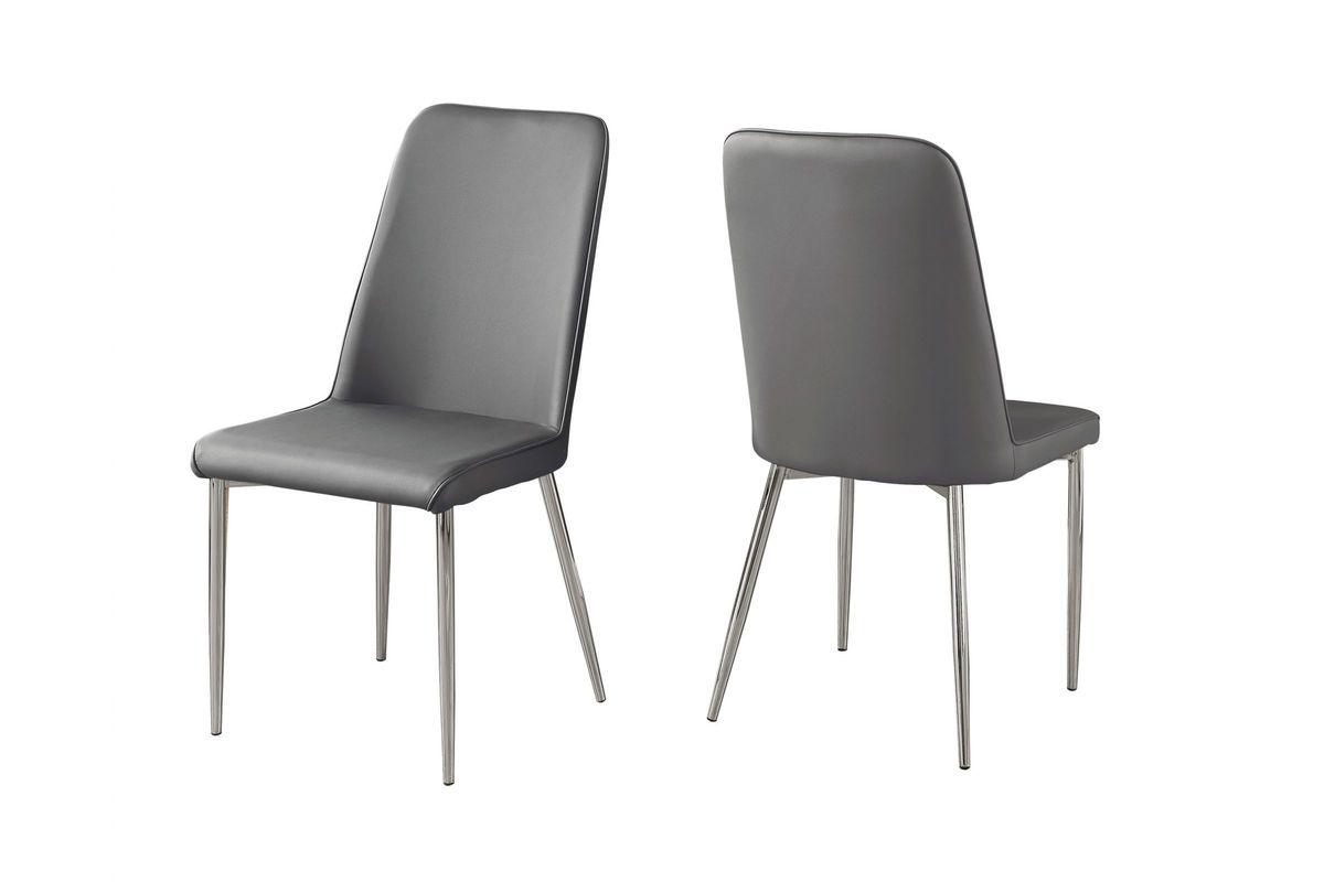 Grey Faux Leather Dining Chair - Set of 2 by Monarch from Gardner-White Furniture