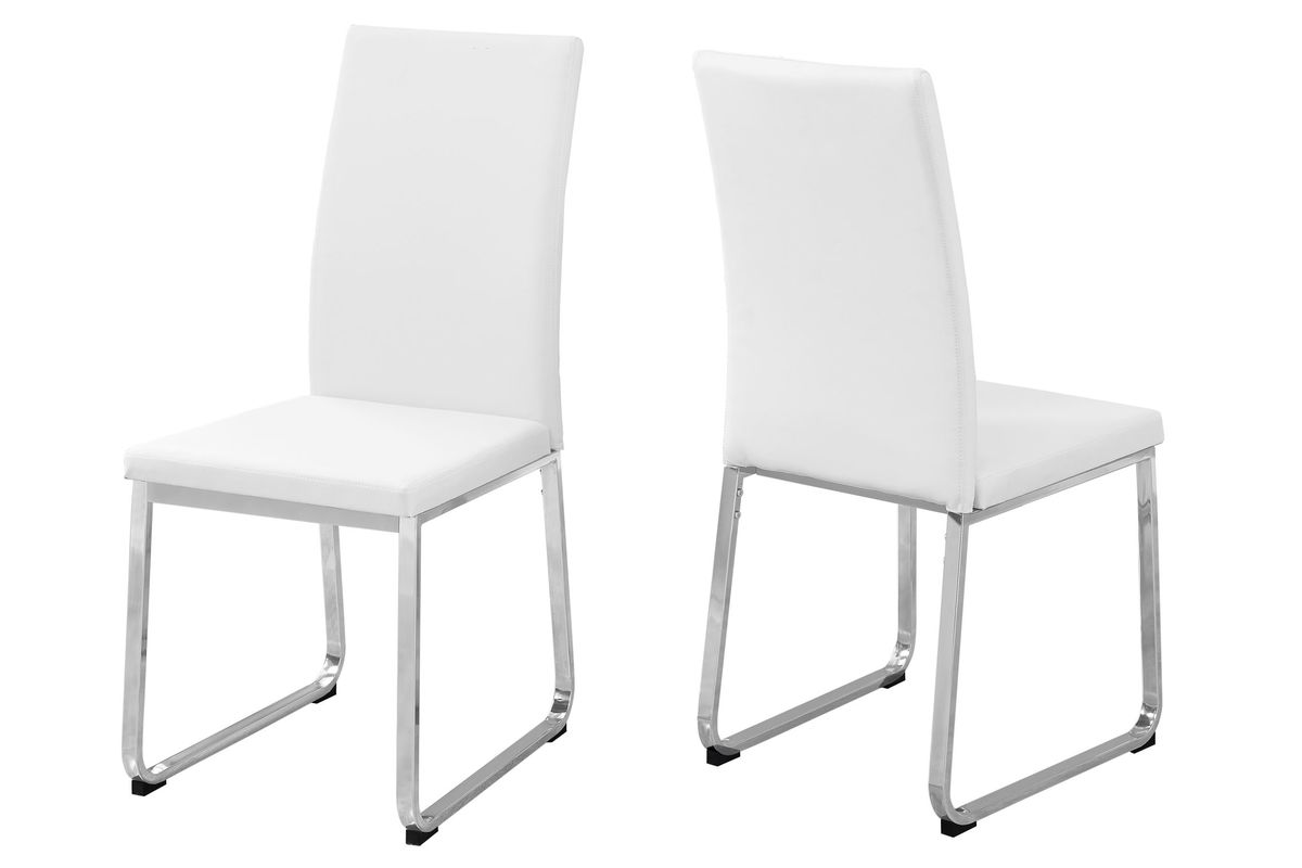 Enjoyable White Chrome Dining Chair Set Of 2 By Monarch Camellatalisay Diy Chair Ideas Camellatalisaycom
