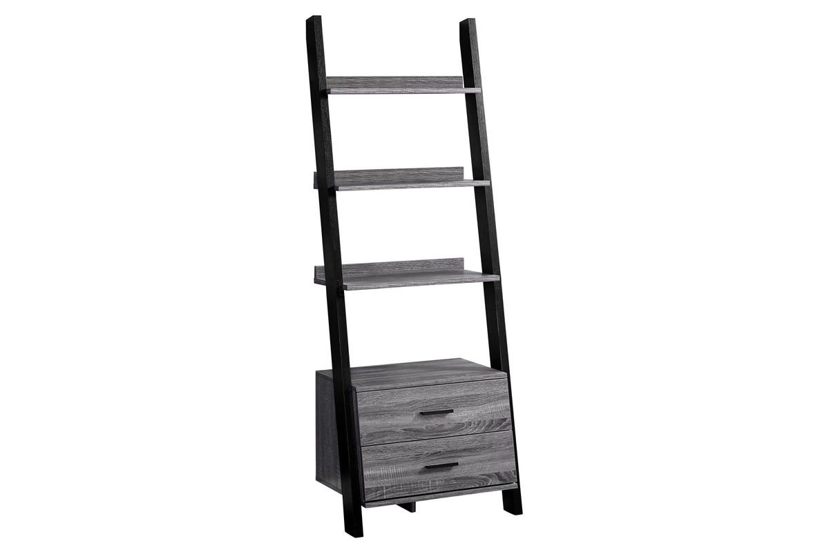 Grey And Black Ladder Bookcase With Storage Drawers By Monarch