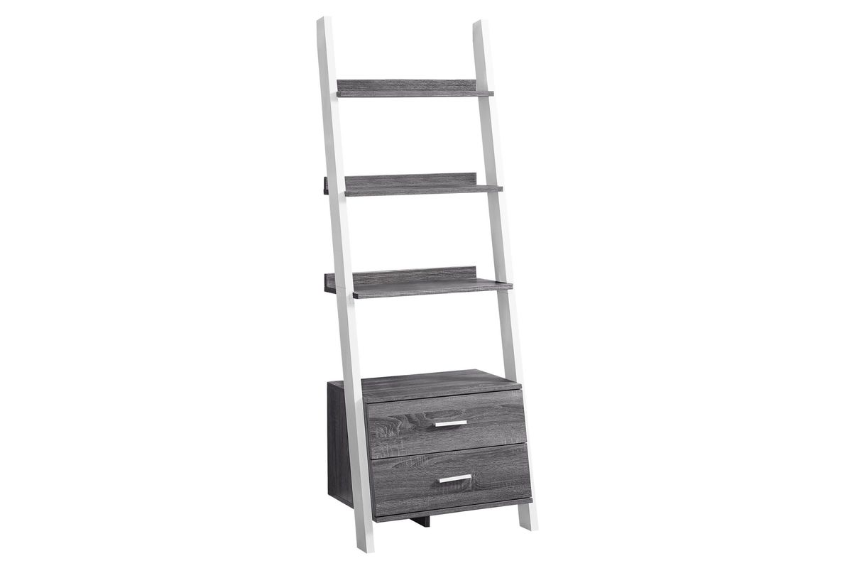 Grey And White Ladder Bookcase With Storage Drawers By Monarch