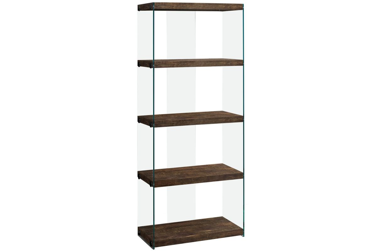 Brown Reclaimed Wood Bookcase With Glass Panels By Monarch