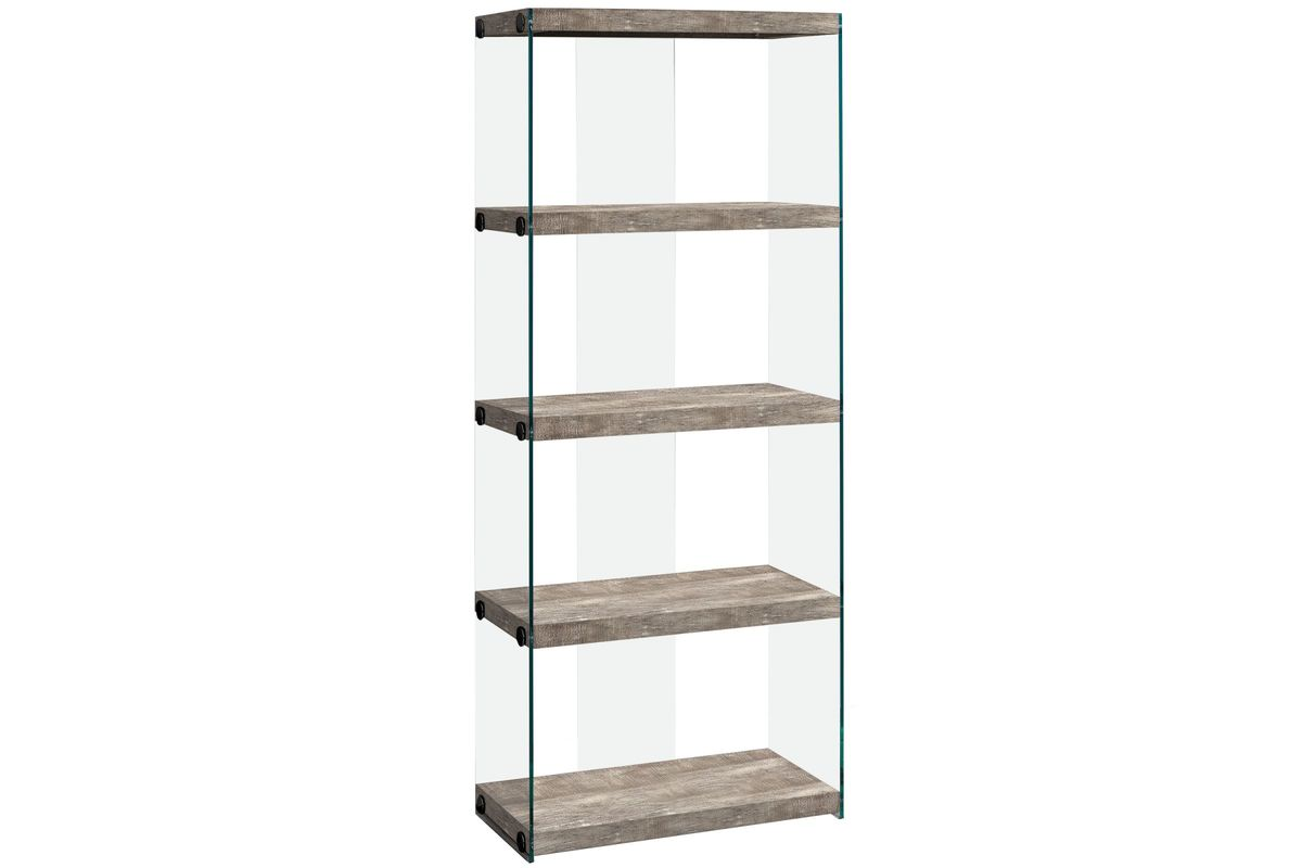 Taupe Reclaimed Wood Bookcase With Glass Panels By Monarch