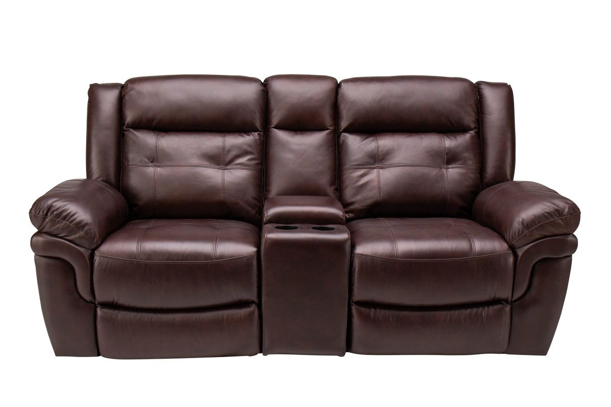 Highland Leather Power Reclining Loveseat With Center Console