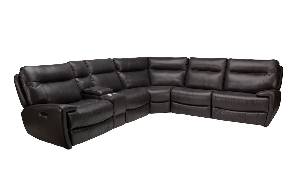 Irving 6-Piece Leather Power Reclining Sectional from Gardner-White Furniture