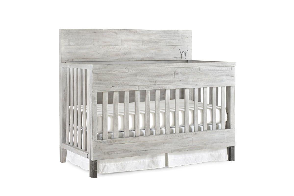 ED Ellen DeGeneres Greystone Grey Convertible Crib with Guard Rail & Bed Rail by Bivona from Gardner-White Furniture