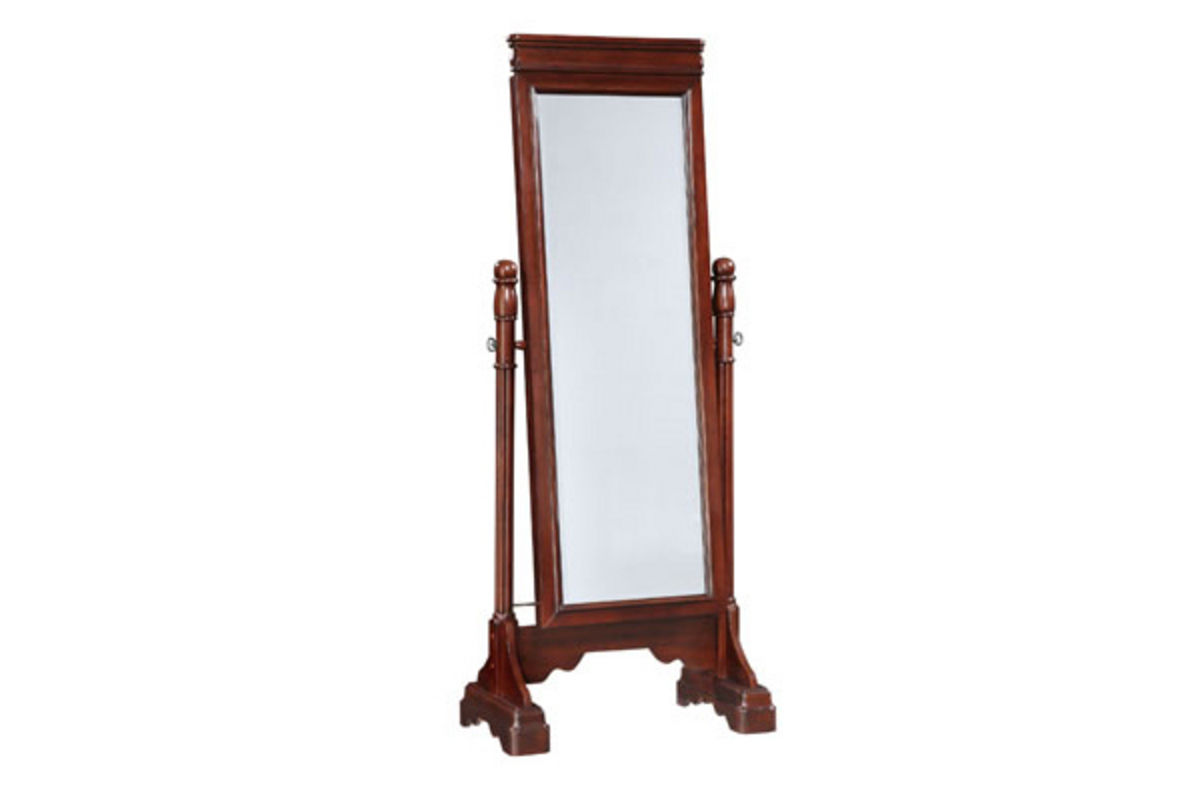 Louis Marquis Cherry Cheval Mirror/Jewelry Armoire at ...
