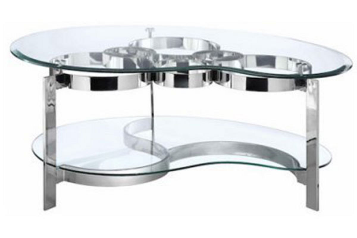 Curvy chrome glass cocktail table at gardner white for Cocktail tables measurements