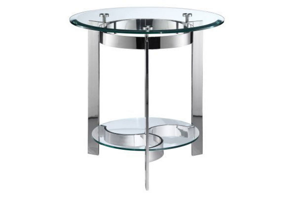 Curvy Chrome Amp Glass End Table At Gardner White