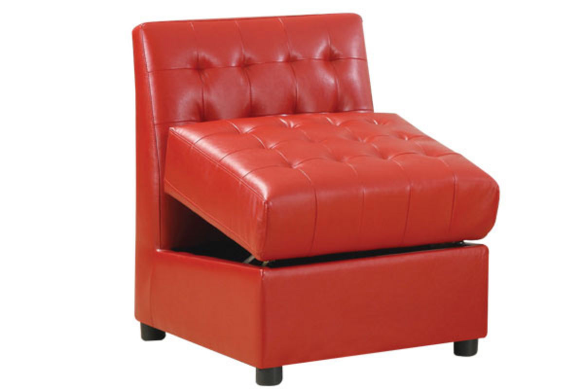 Red armless storage chair at gardner white for Gardner storage