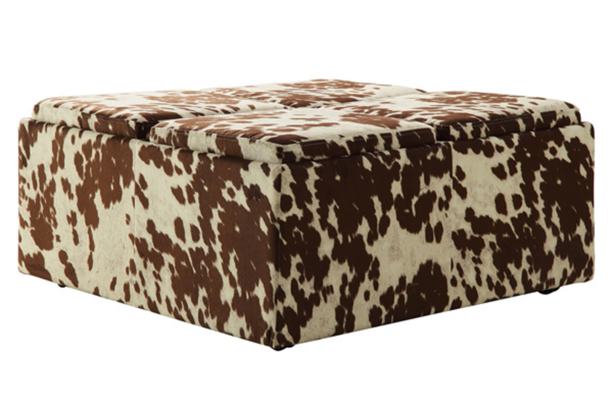 Cowhide print storage ottoman at gardner white for Gardner storage