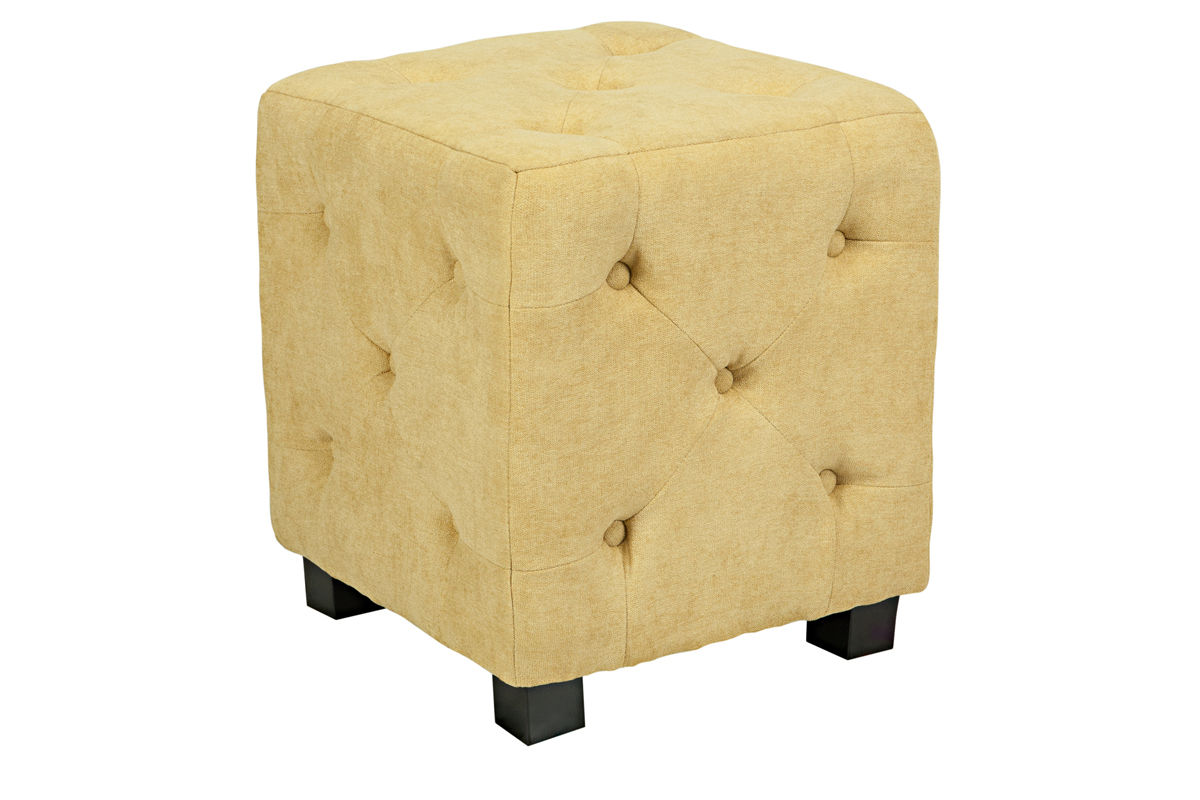 Duncan Small Tufted Yellow Cube Ottoman At Gardner-White